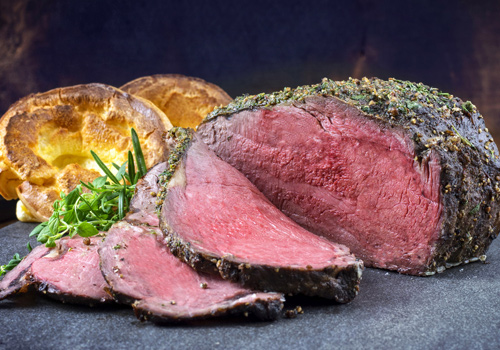 Roasted locally sourced beef Beef
