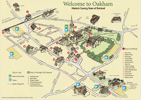 Map of Oakham, Rutland