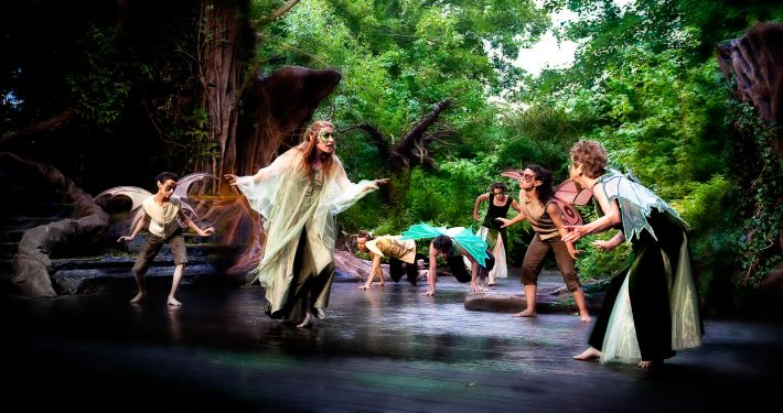 Titania and fairies in A Midsummer Night's Dream